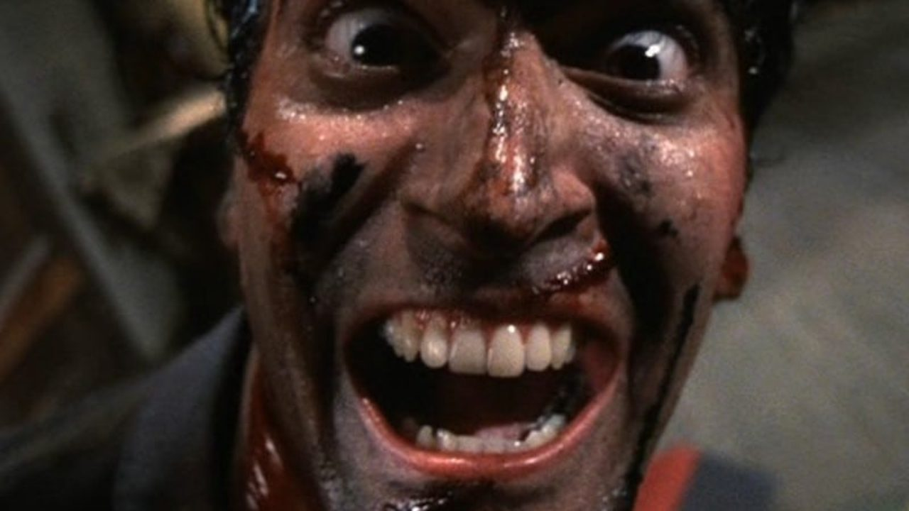 31 Days of Horror Evil Dead 2 1987 Dead Before Dawn Bruce Campbell as Ash Williams Losing His Mind Laughing Cabin Scene