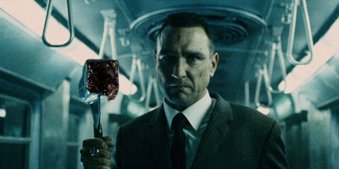 """31-Days-of-Horror-The-Midnight-Meat-Train-2008-Vinnie-Jones-as-Mahogany-with-Meat-Tenderizer """"31 Days of Horror"""" Day 17: """"The Midnight Meat Train"""" (2008) Movies Reviews"""